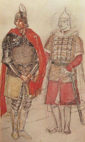 Sketch to the tragedy of Pushkin Boris Godunov 1 1923 | Petrov Vodkin Kuzma Sergeevich | oil painting