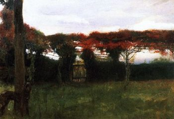 Red Arbor with Dog | Max Slevogt | oil painting