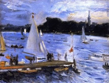 Sailboats on the Alster River in the Evening | Max Slevogt | oil painting