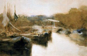 Moored ships in city canal | George Heidrik Breitner | oil painting