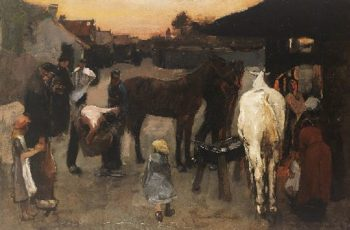 Bij de hoefsmid | George Heidrik Breitner | oil painting