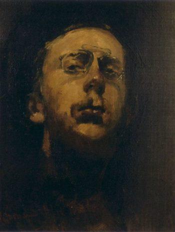 Selfportait with pince nez | George Heidrik Breitner | oil painting