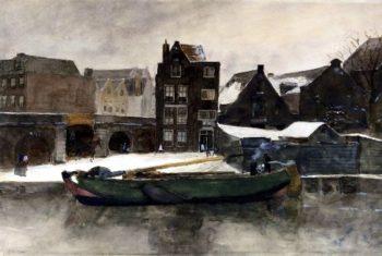 Het Prinseneiland the Teertuinen in winter Amsterdam | George Heidrik Breitner | oil painting