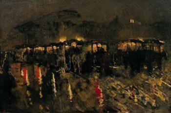 Horse Trams on Dam Square in Amsterdam at Night | George Heidrik Breitner | oil painting