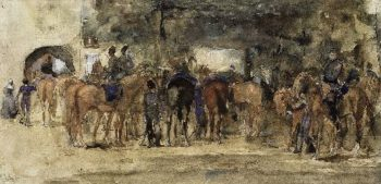 Cavalry Resting on a Square | George Heidrik Breitner | oil painting