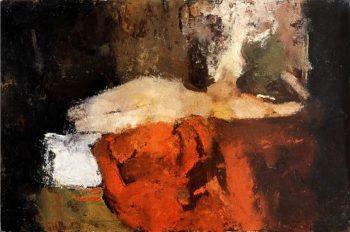 Nude with black stockings on a bed | George Heidrik Breitner | oil painting