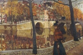 An Elegant Lady Strolling along a Canal in Amsterdam | George Heidrik Breitner | oil painting