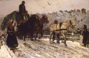Sleperspaarden in de sneeuw | George Heidrik Breitner | oil painting