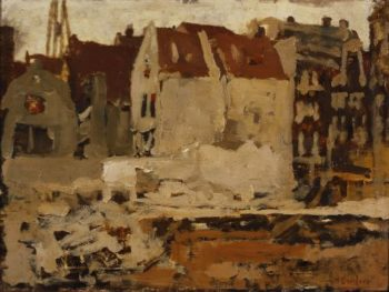 Bouwput voor de Grand Bazar de la Bourse aan de Nieuwendijk te Amsterdam | George Heidrik Breitner | oil painting