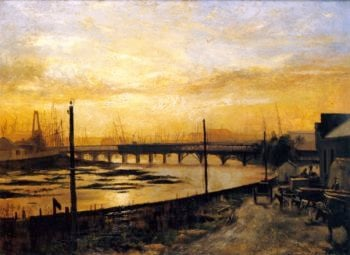 Falls Bridge Melbourne | Frederick McCubbin | oil painting