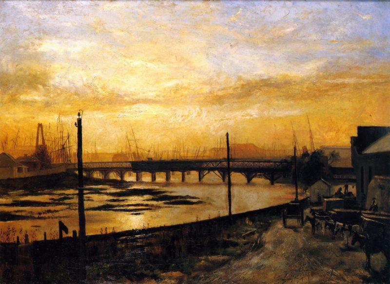 Falls Bridge Melbourne | Frederick McCubbin | oil painting