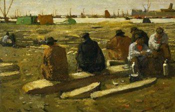 Lunch Break at the Building Site in the Van Diemenstraat in Amsterdam | George Heidrik Breitner | oil painting
