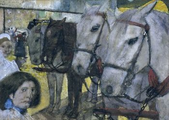 Tram Horses on Dam Square in Amsterdam | George Heidrik Breitner | oil painting
