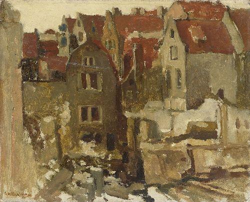 Demolition of the Grand Bazar de la Bourse in Amsterdam at the Nieuwendijk | George Heidrik Breitner | oil painting