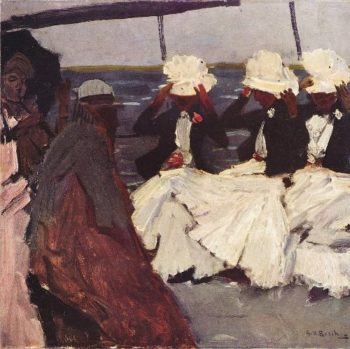 Promenade deck with three ladies | George Heidrik Breitner | oil painting