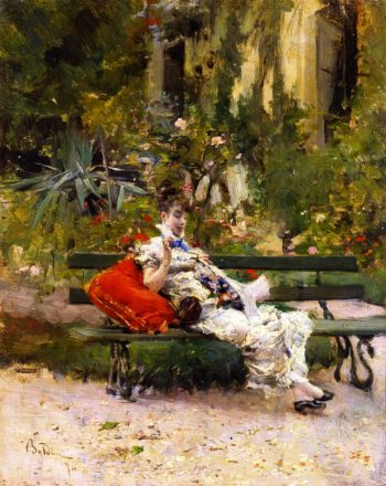 Berthe Sewing in the Garden | Giovanni Boldini | oil painting