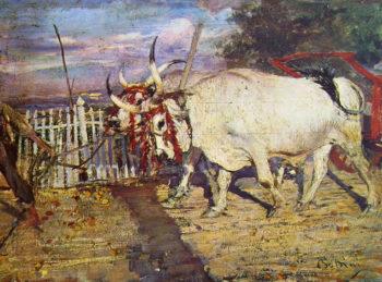 Bovi al carro | Giovanni Boldini | oil painting