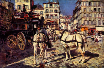 Bus on the Pigalle Place in Paris | Giovanni Boldini | oil painting