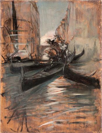 Canale a Venezia con gondole | Giovanni Boldini | oil painting