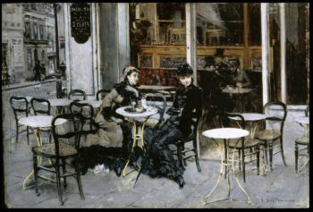 Conversation at the Cafe Table | Giovanni Boldini | oil painting