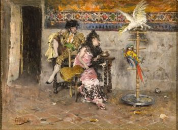 Couple in Spanish dress with two parrots | Giovanni Boldini | oil painting