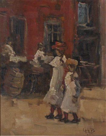 Girls strolling on the street | George Heidrik Breitner | oil painting
