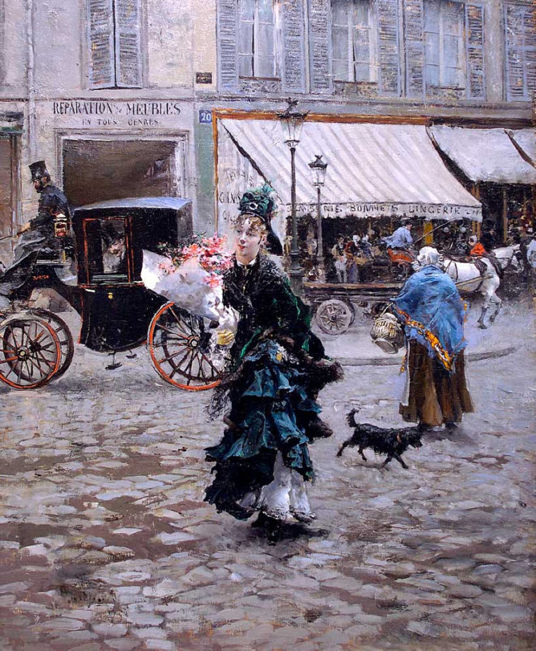 Crossing the Street | Giovanni Boldini | oil painting