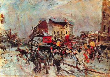 Exit of a Costumes Ball in Montmartre   Giovanni Boldini   oil painting