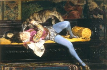 Games with Greyhound   Giovanni Boldini   oil painting