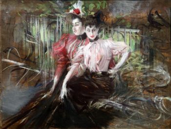 Giovani donne sedute   Giovanni Boldini   oil painting