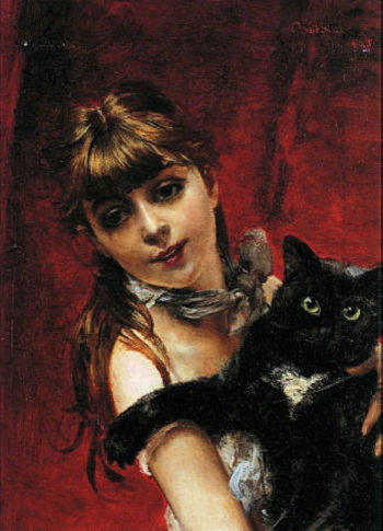 Girl with Black Cat   Giovanni Boldini   oil painting