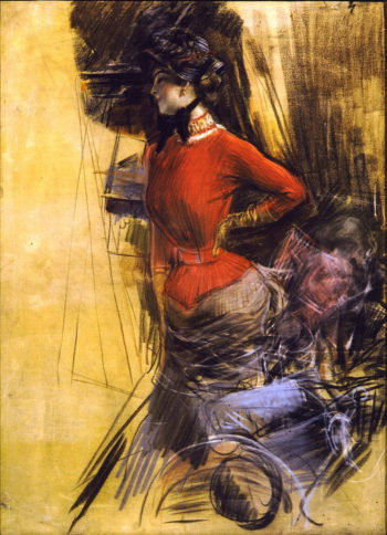 Lady in Red Coat | Giovanni Boldini | oil painting