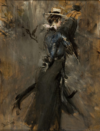 Lady Wearing a Straw Bonnet | Giovanni Boldini | oil painting