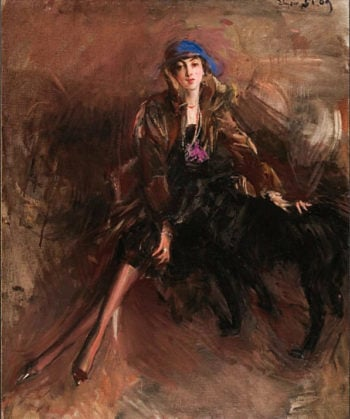 Lady with Black Greyhound | Giovanni Boldini | oil painting