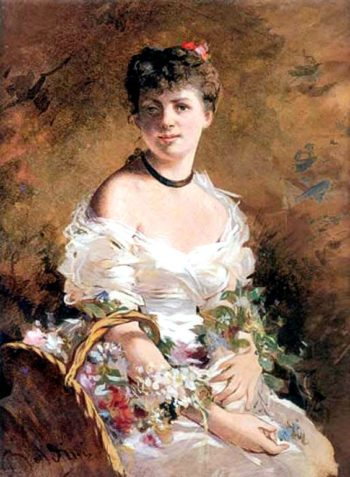 Lady with Flowers | Giovanni Boldini | oil painting