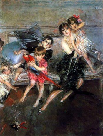 La Signora Edwards con i quattro figli e la bambinaia | Giovanni Boldini | oil painting
