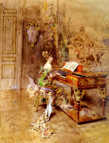 The Lady Pianist   Giovanni Boldini   oil painting