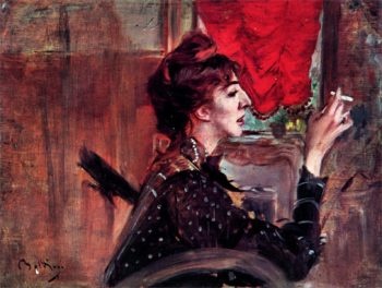 The Red Curtain   Giovanni Boldini   oil painting