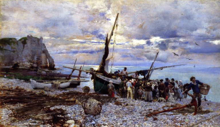 The Return of the Fishing Boats | Giovanni Boldini | oil painting