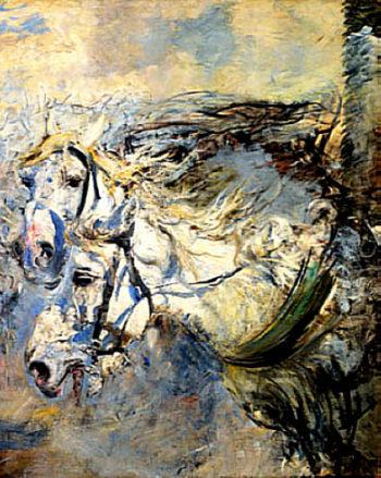 Two White Horses | Giovanni Boldini | oil painting