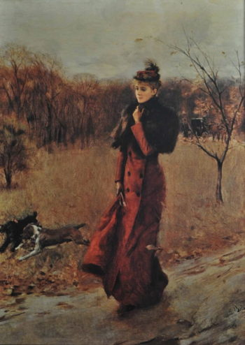 Walking in the Park in Naples | Giovanni Boldini | oil painting