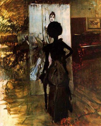 Woman in Black who Watches the Pastel of Signora Emiliana Concha de Ossa   Giovanni Boldini   oil painting