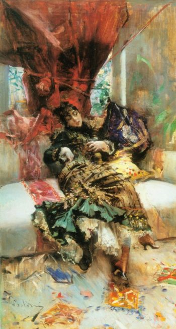 Young woman seated on the divan   Giovanni Boldini   oil painting