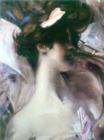 Young woman's head on a pink background | Giovanni Boldini | oil painting