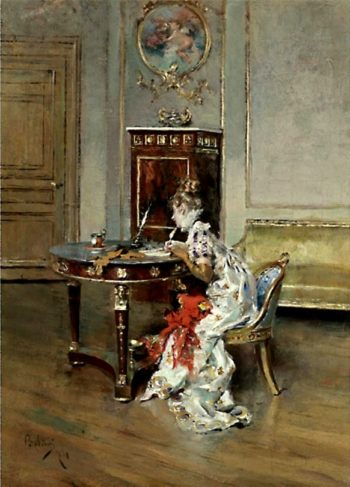 Young Woman Writing   Giovanni Boldini   oil painting