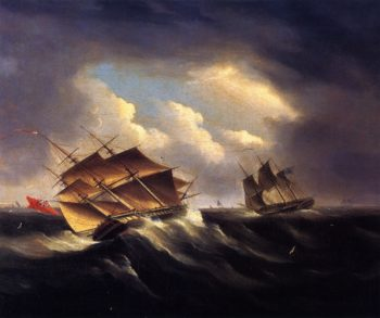 A British Frigate Approaching Another Vessel in a Heavy Sea | James E Buttersworth | oil painting