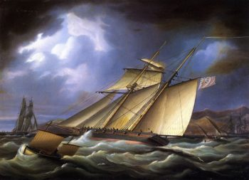 An Armed Topsail Schooner in Stormy Weather | James E Buttersworth | oil painting