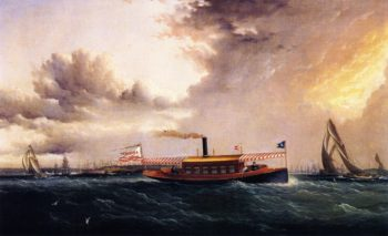Armina in New York Harbor   James E Buttersworth   oil painting