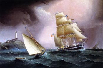 A Square Rigger off the Isle of Shoals | James E Buttersworth | oil painting