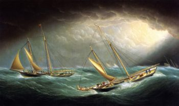 Four Yachts in a Storm | James E Buttersworth | oil painting